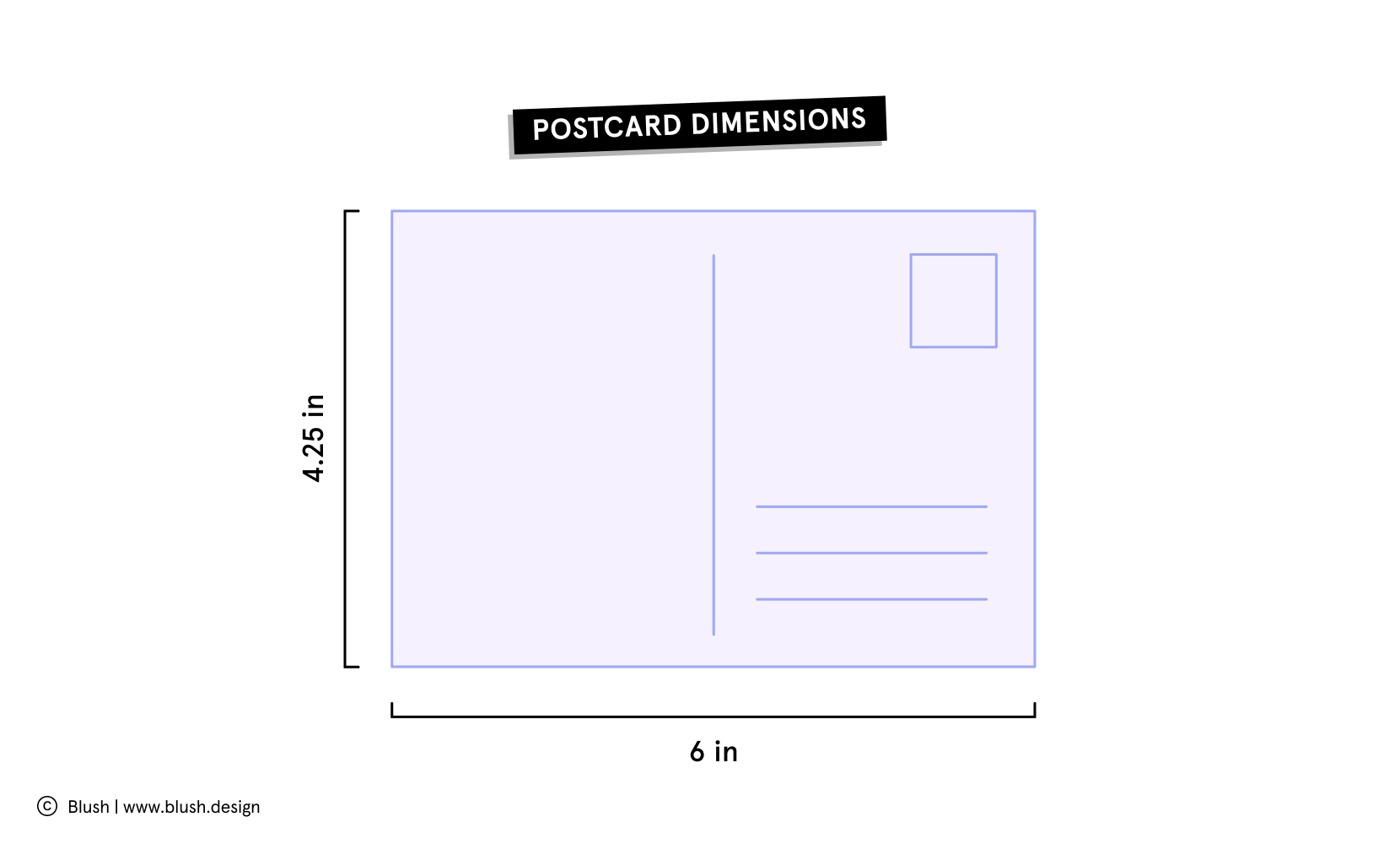Illustration of postcard dimensions