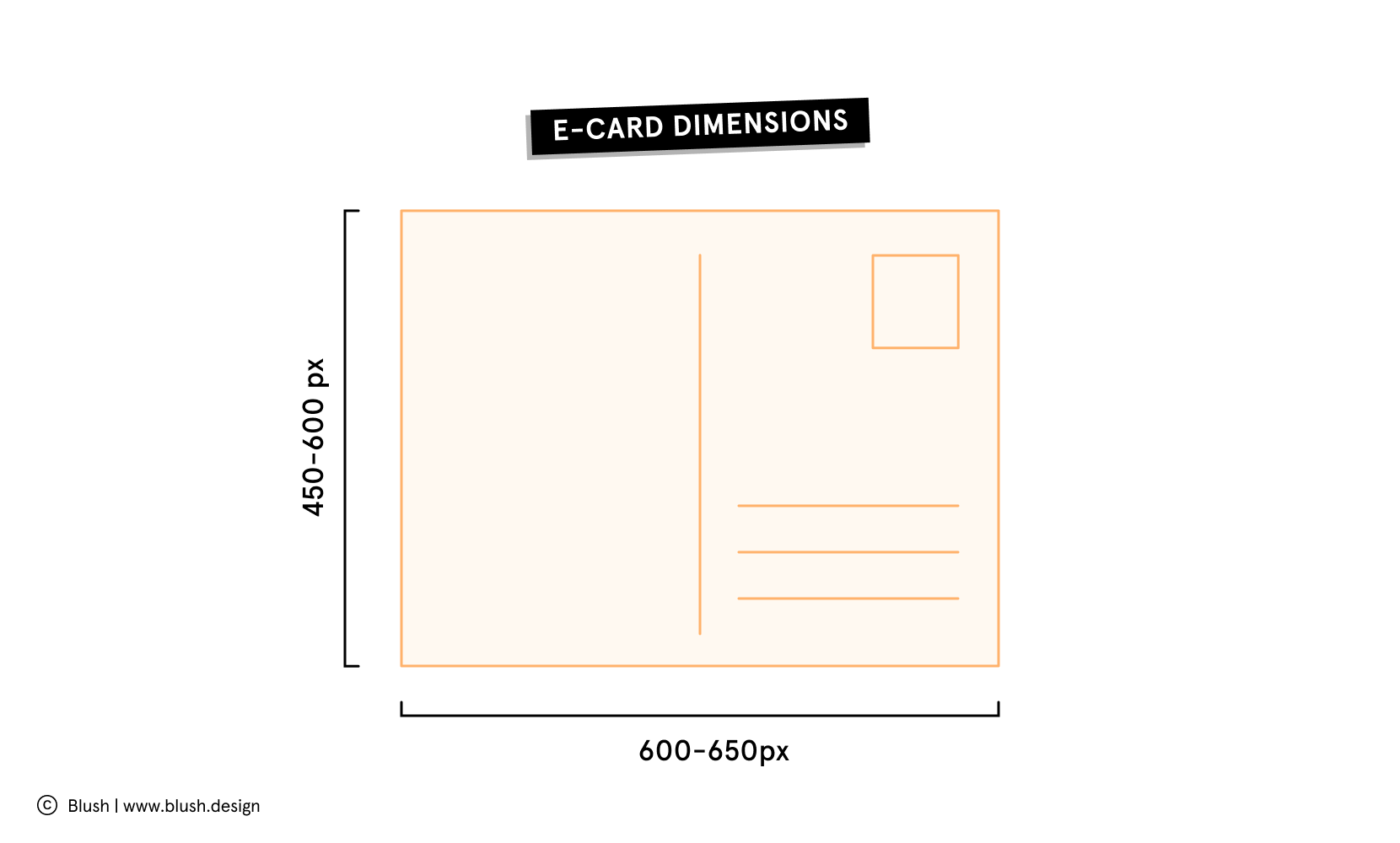Illustration of an ecard template with dimensions