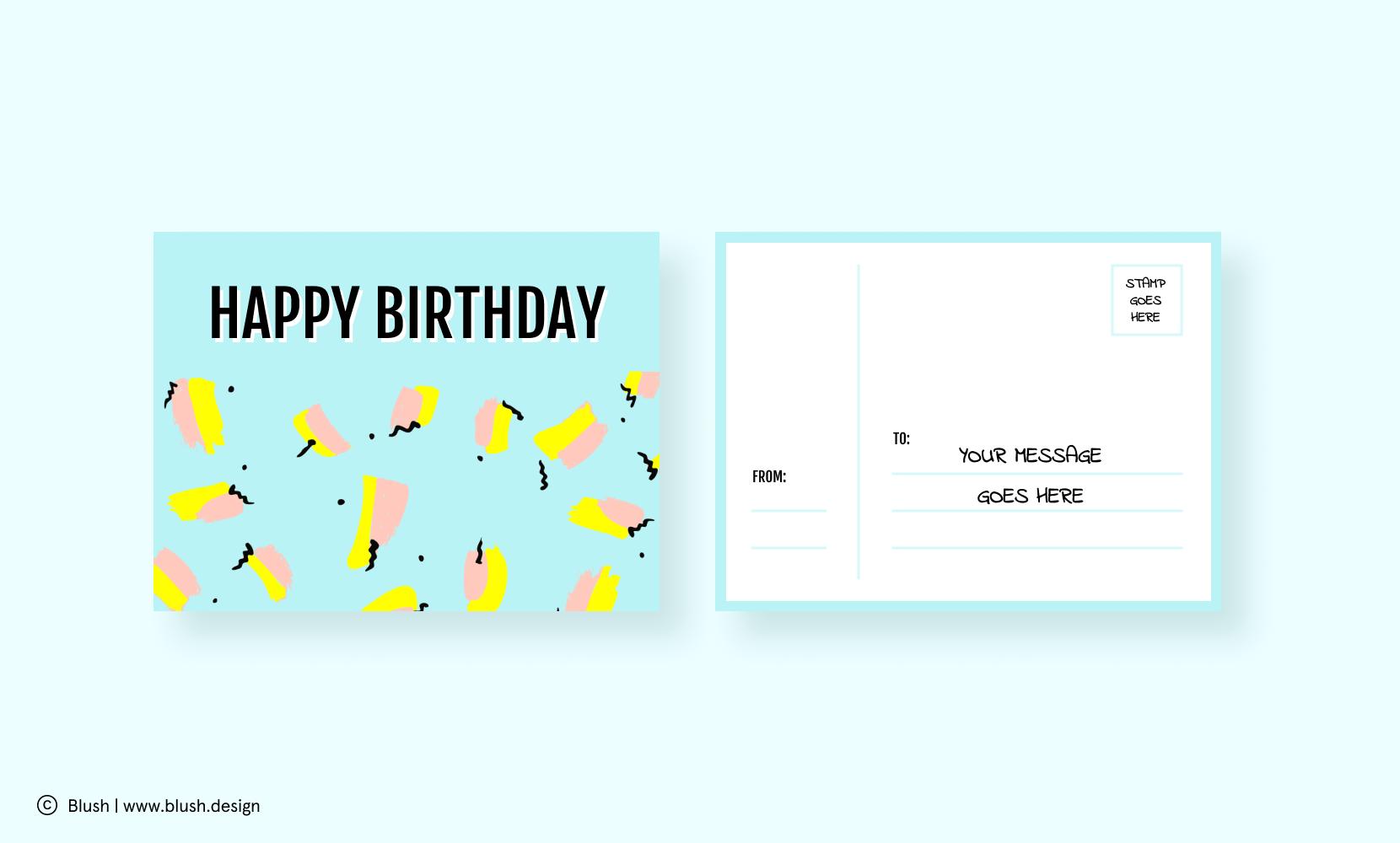 Birthday postcard design