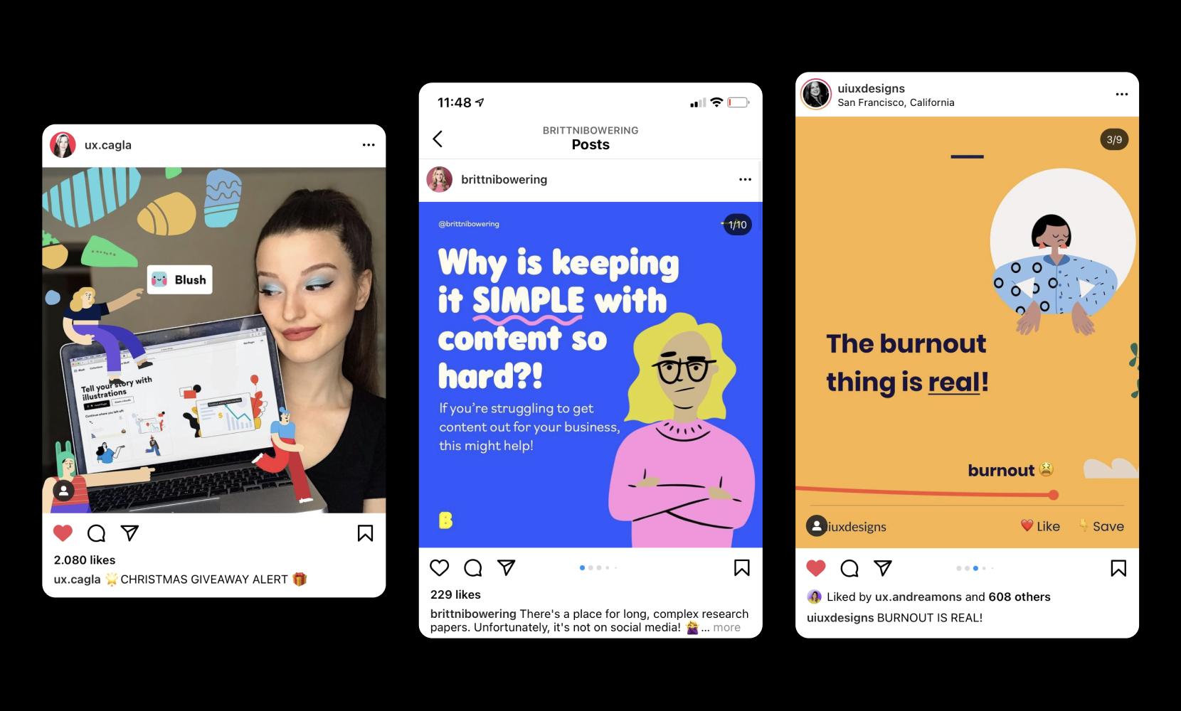 Beautiful examples of social media using illustrations