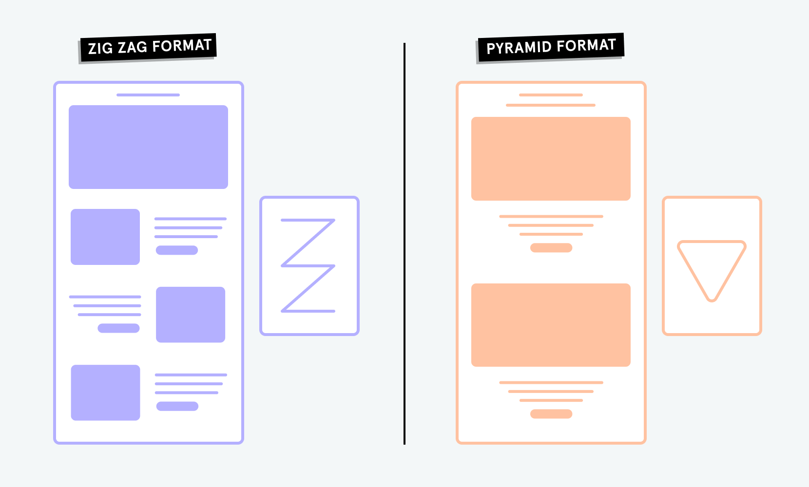 Zigzag and pyramid format for email design