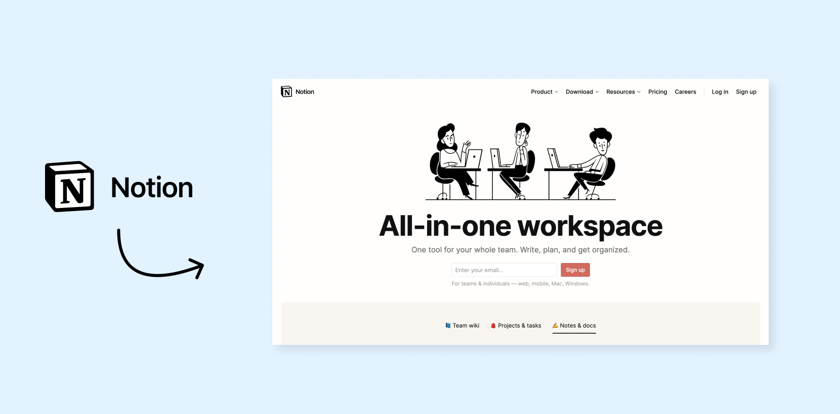 Notion hero header with classic illustrations
