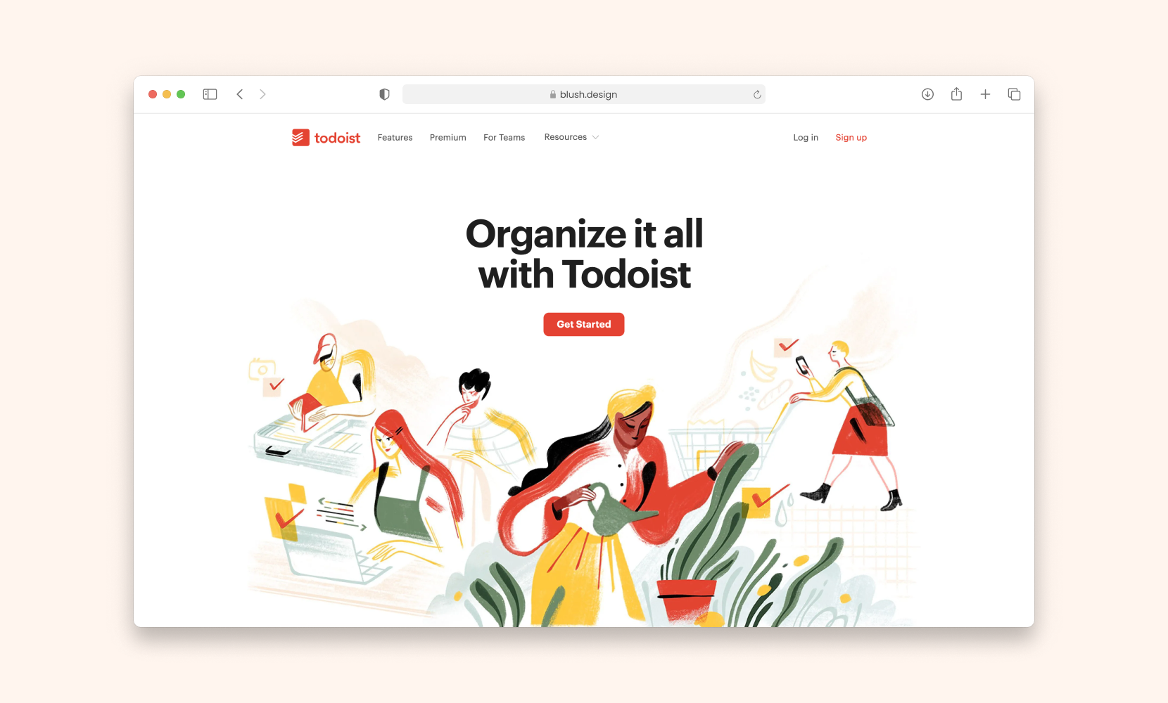 hero header for Todoist that is clean and organized