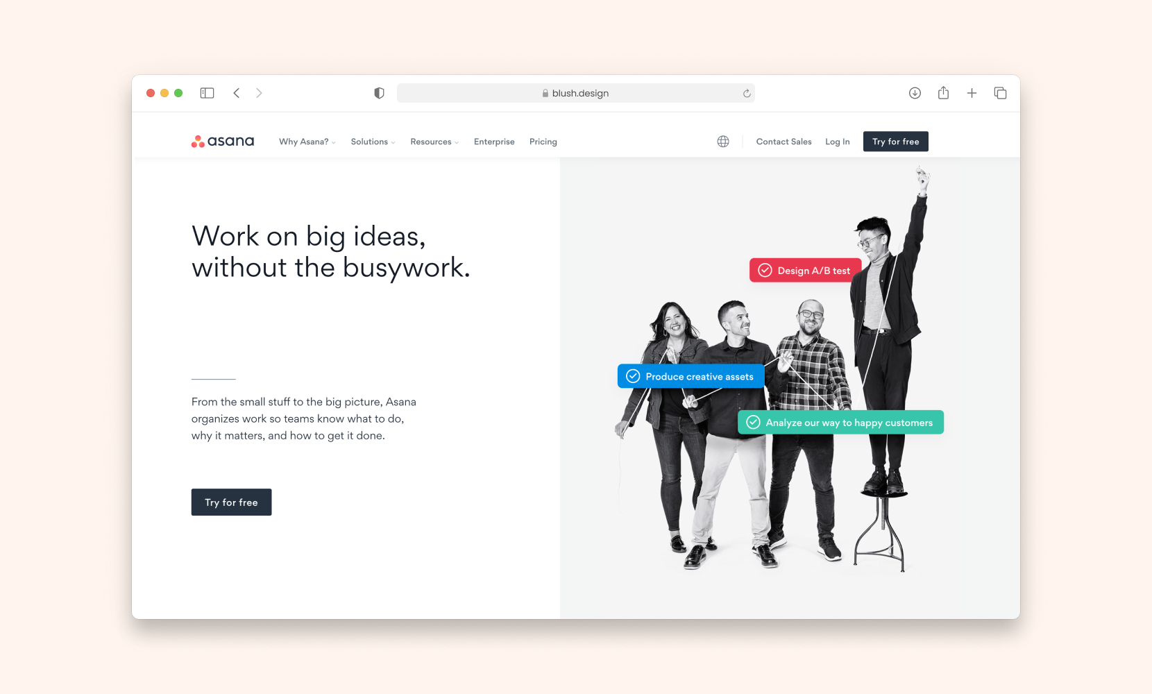 Hero header from Asana that features photos.
