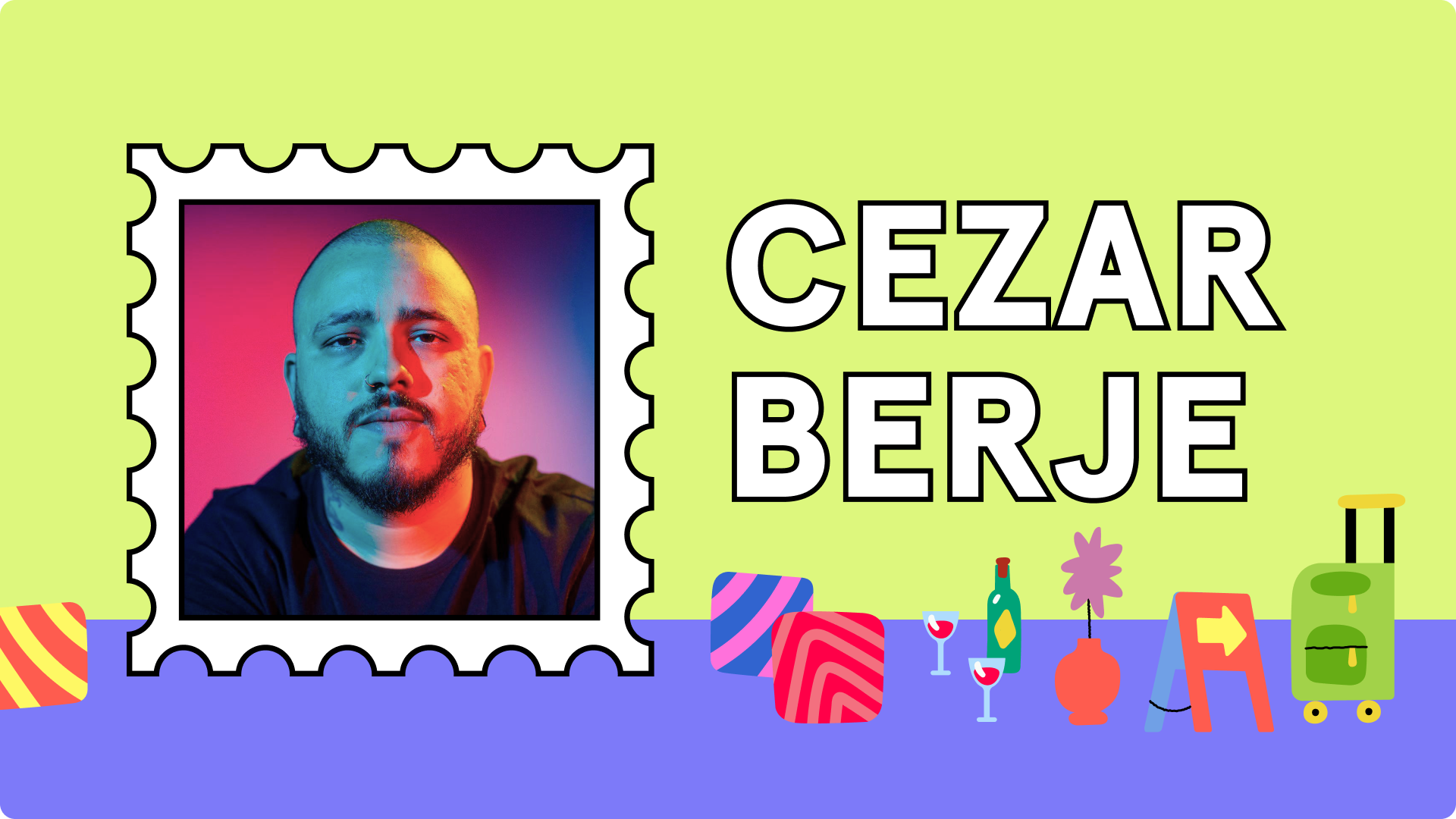 Banner of Cezar Berje and his doodles from the collection brazuca