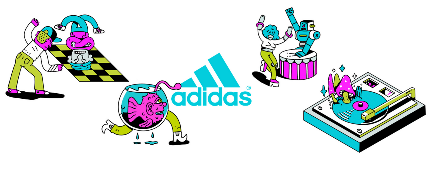 Illustrations from Berje's collaboration with Adidas for Lallapalooza