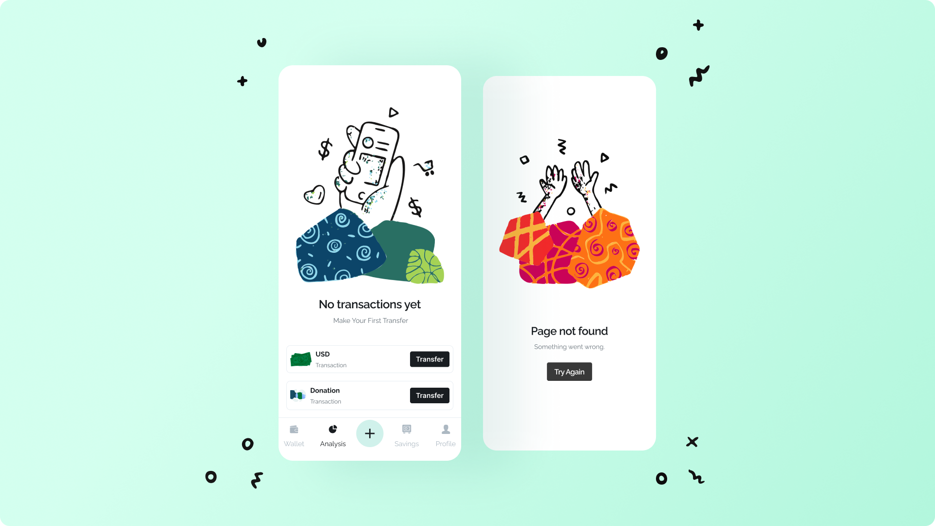 Money app empty states with Charco illustrations