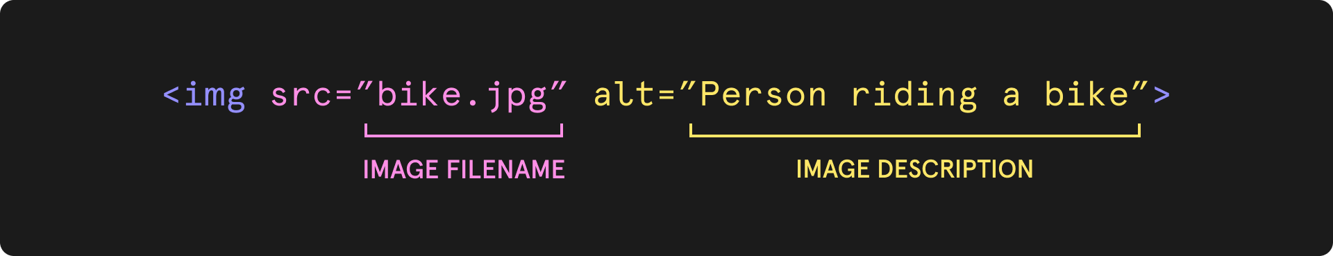 """HTML Code and an example of Alt Text that says alt=""""Person riding a bike"""""""