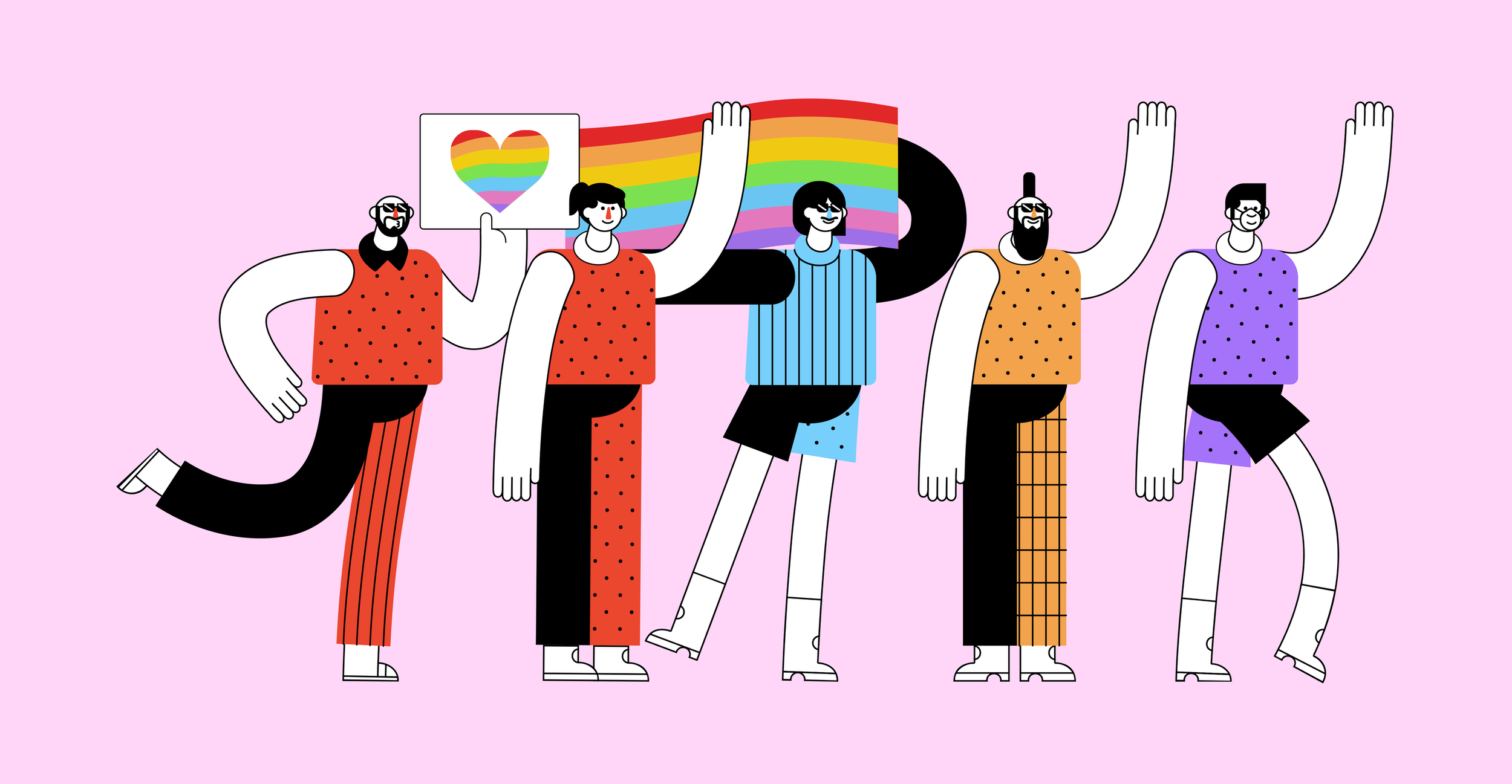 five hand-illustrated doodle characters wearing brightly colored clothes in front sign with a rainbow heart and a rainbow flag