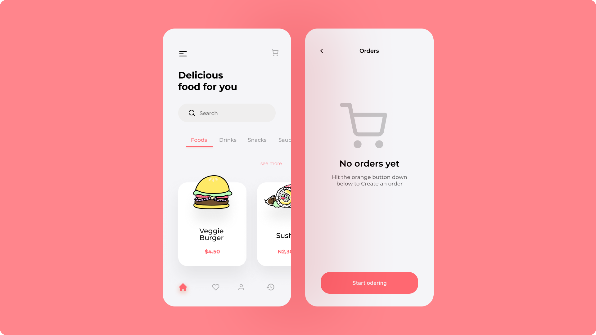 UI screen of a food app