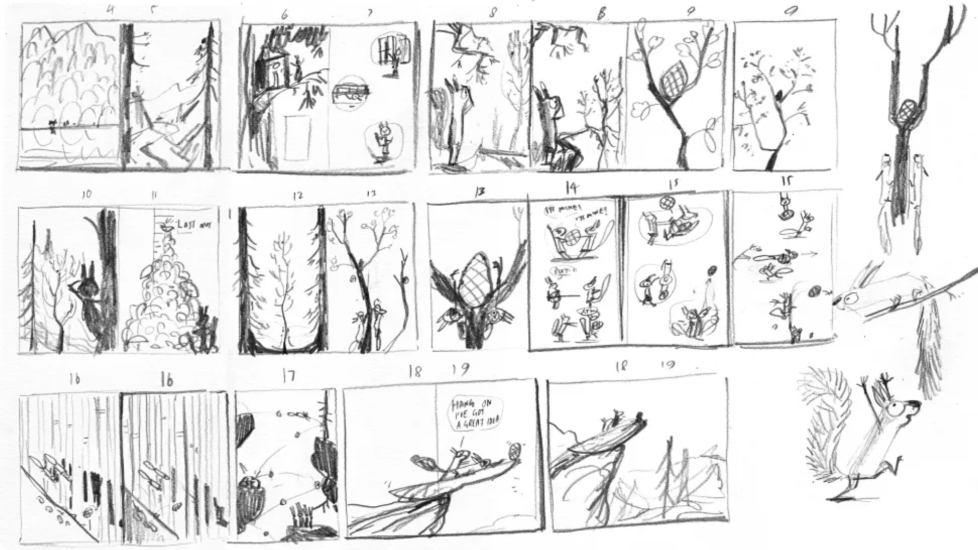 Hand-drawn storyboard and thumbails from The Squirrels who Squabbled