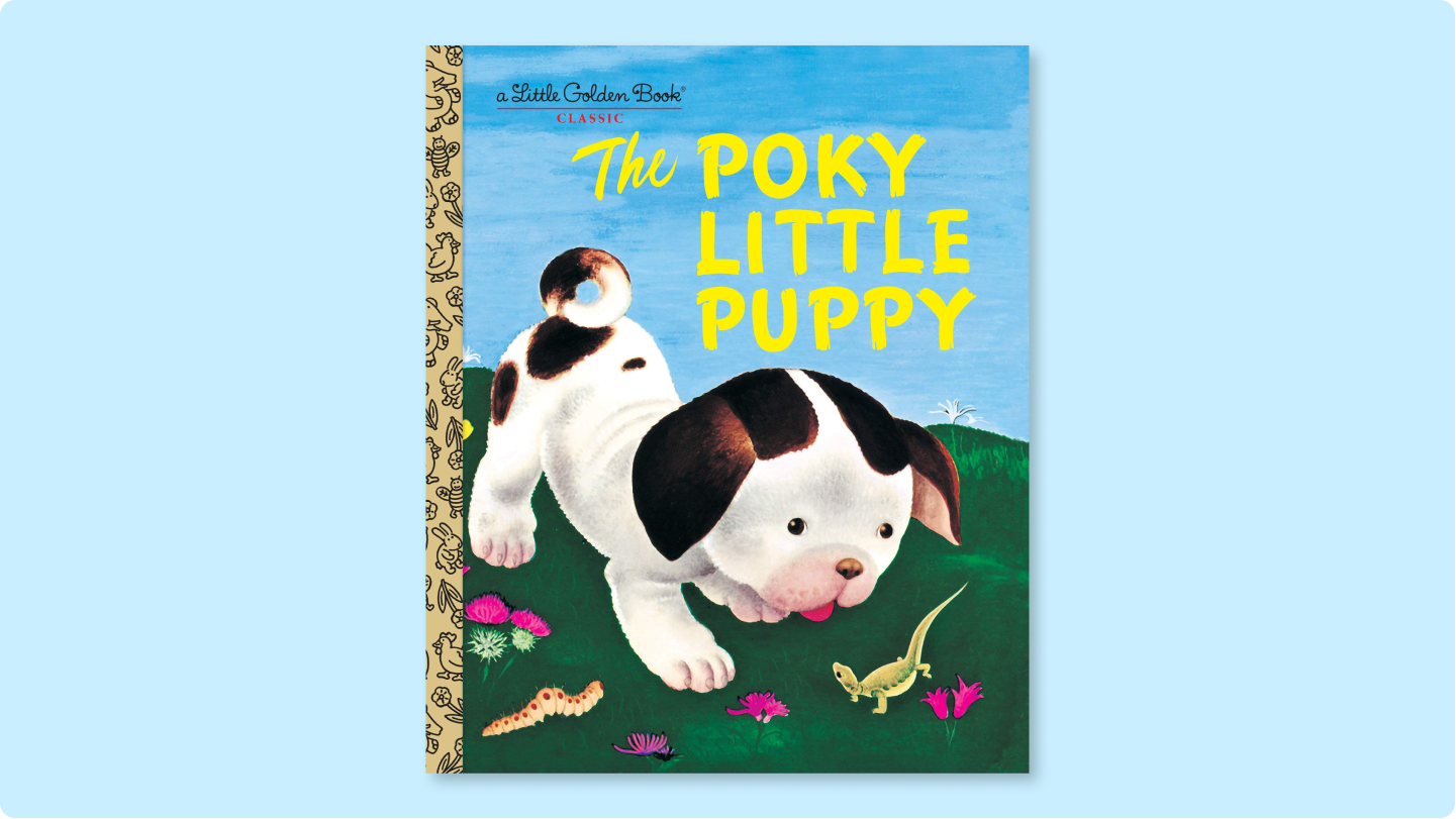 Adorable animal illustrations on the sweet cover of The Poky Little Puppy