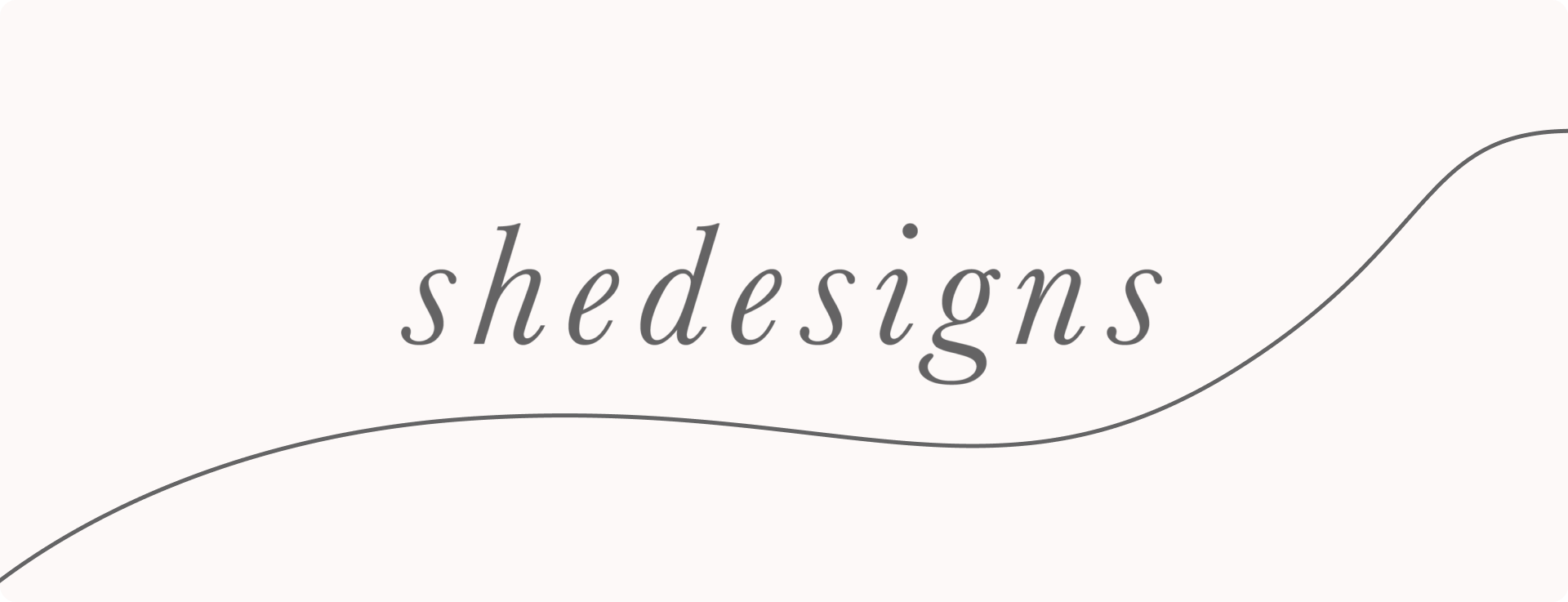 a beige banner with Shedesigns script logo
