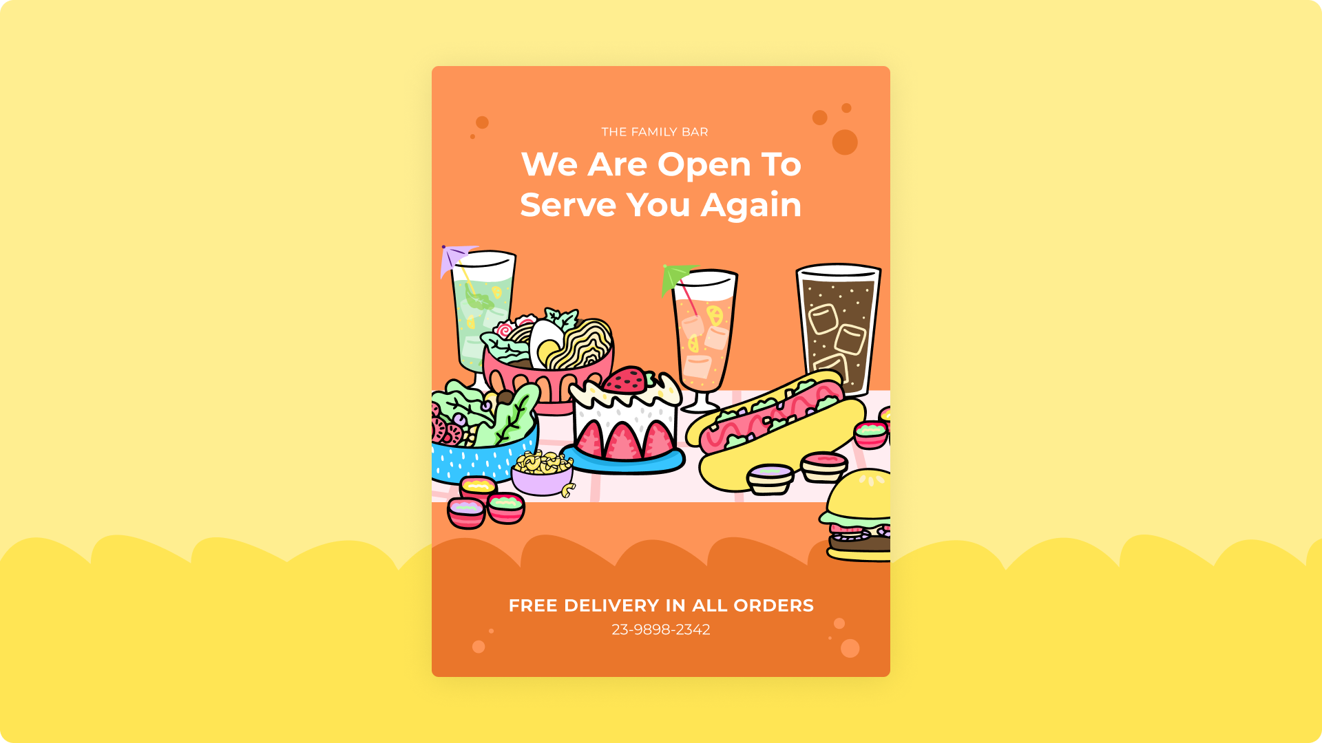 Illustrated flyer reading 'we are open to erve you again' with illustrations of food from the collection The Munchies