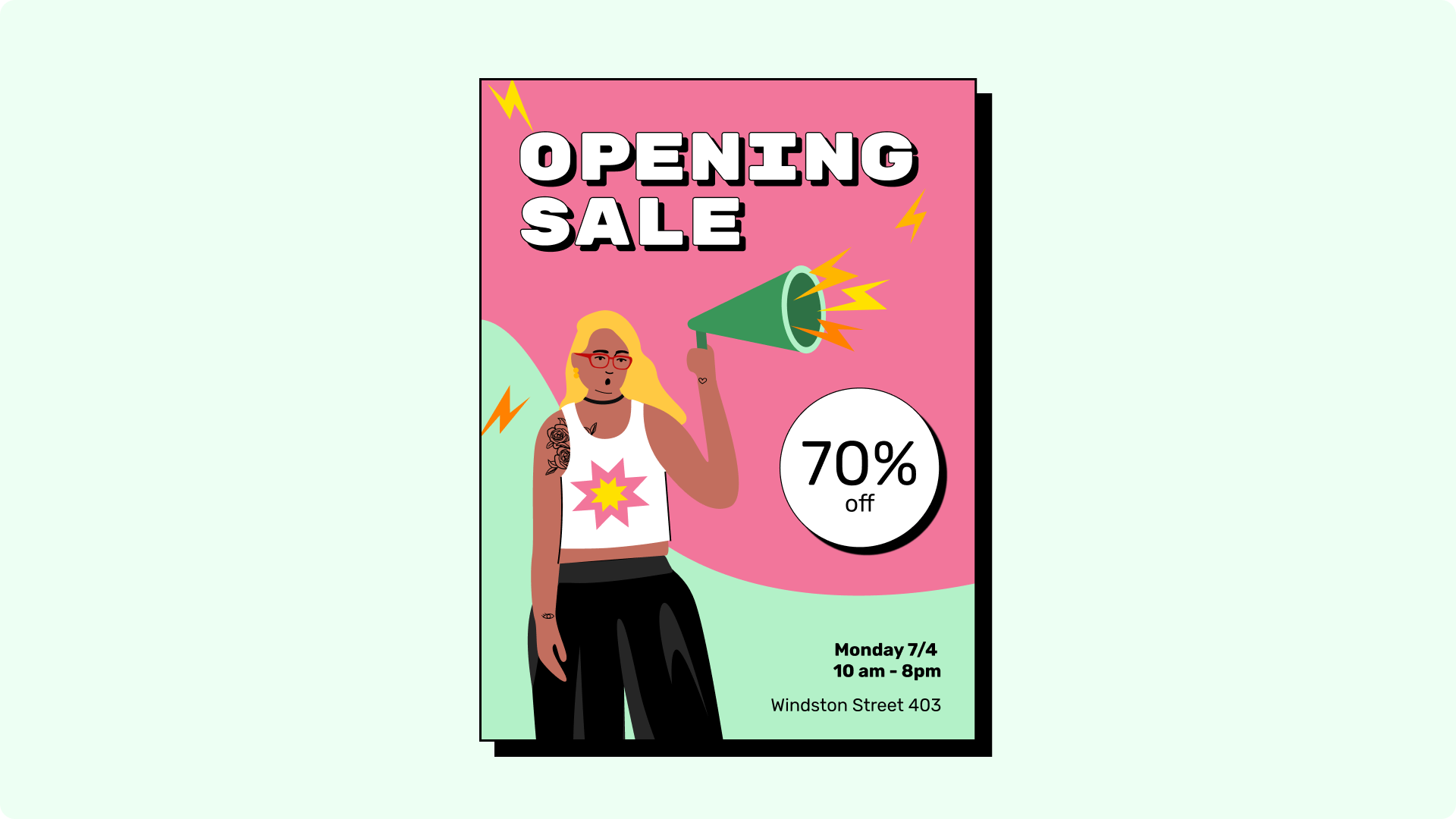 Opening sale flyer example.