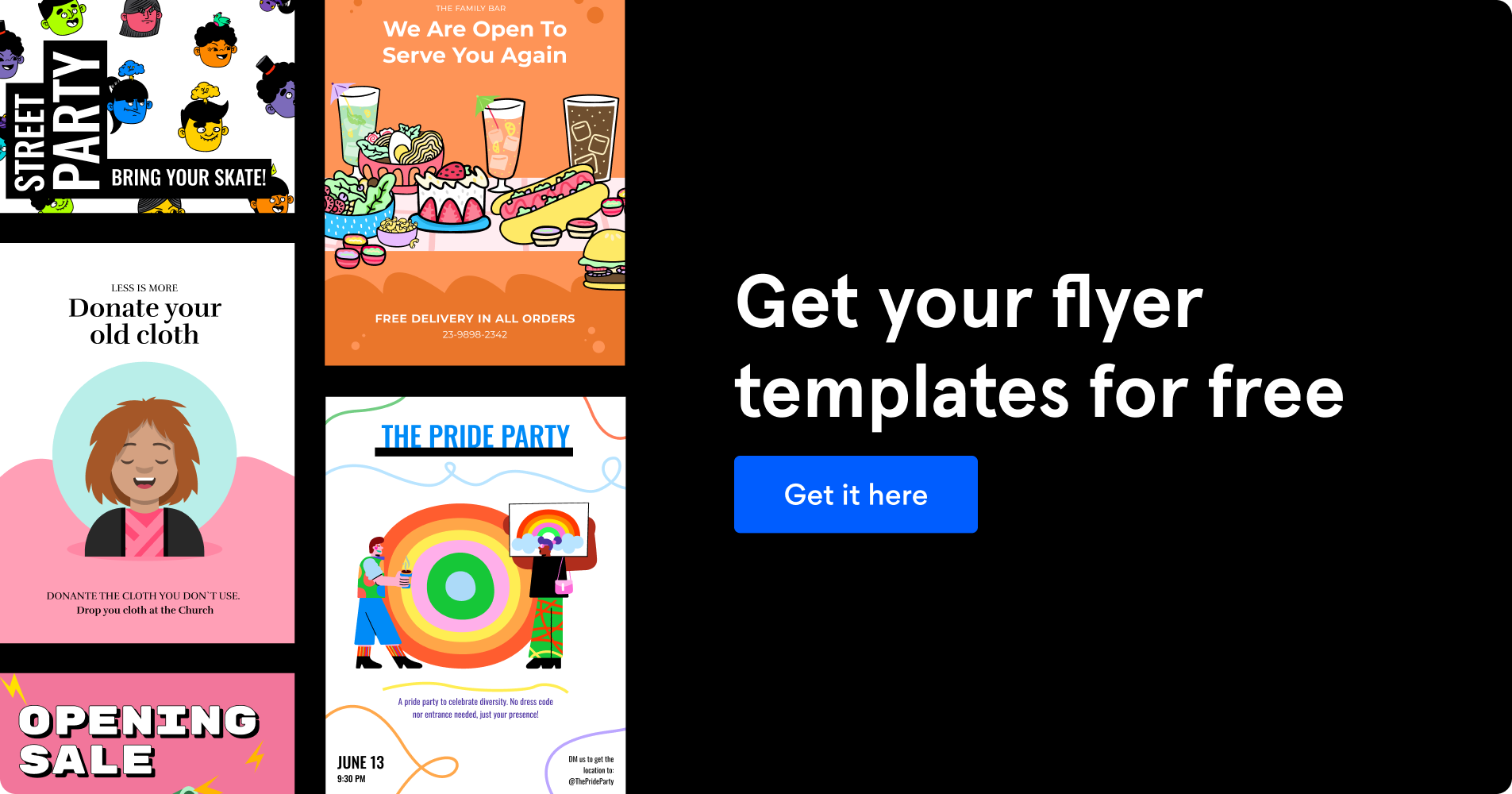 Banner promoting flyer templates on Figma