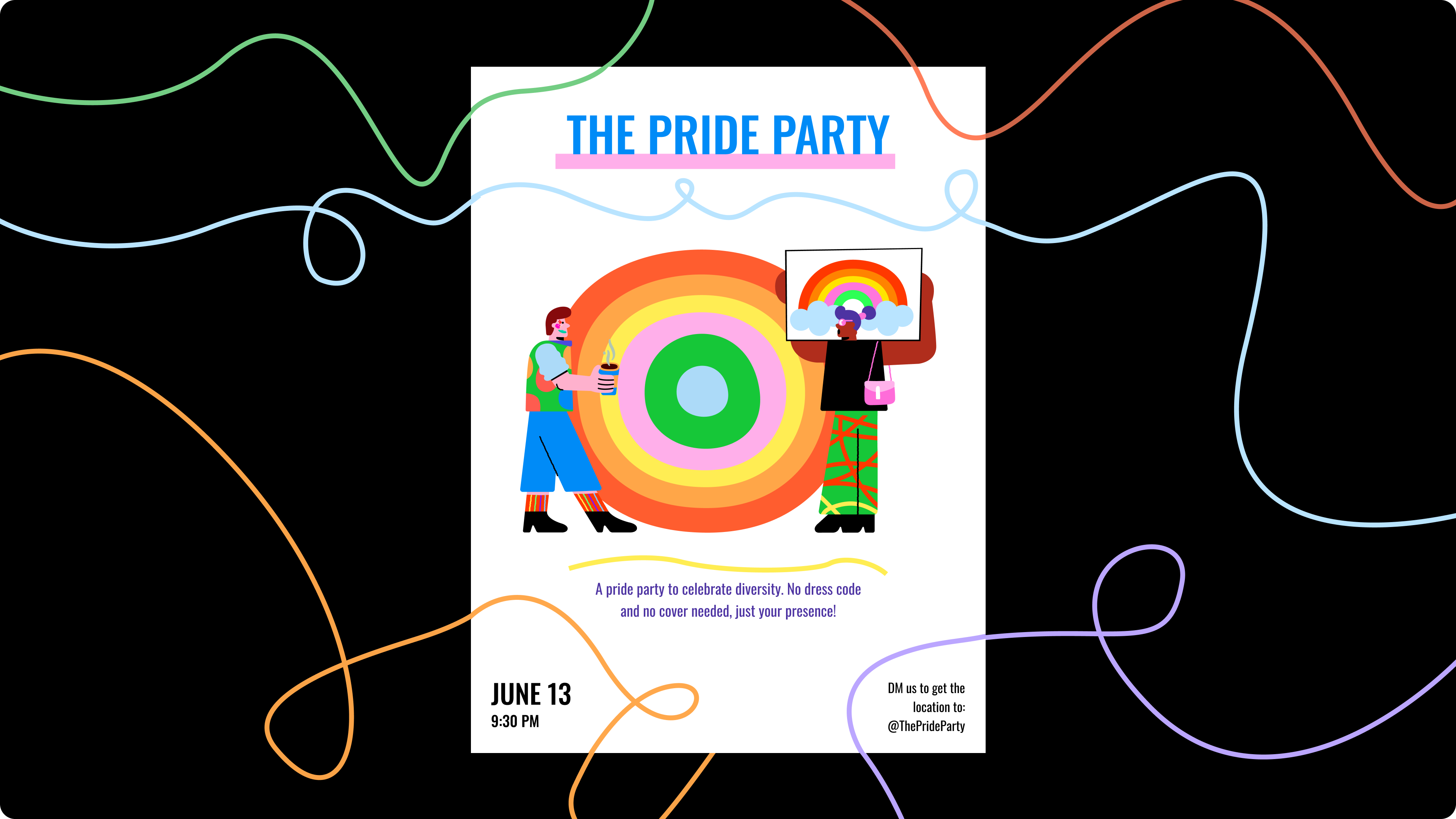 Flyer example with well balanced and brightly colored Brazuca doodles.