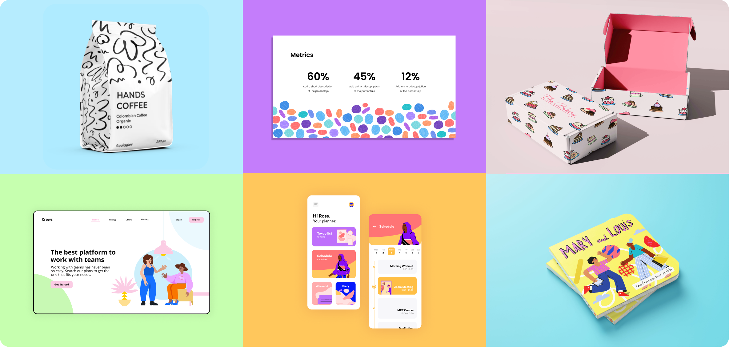 Different projects featuring blush illustrations