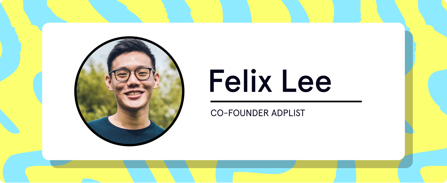 Banner featuring a headshot of Felix Lee Co-founder of ADPList