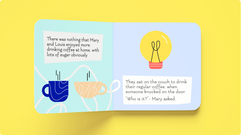 Children's book featuring coffee mug and light bulb illustrations from the Blush collection Amigos