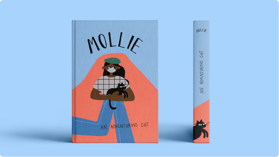 Cover and spine of Mollie An Adventurous Cat featuring Cool Kids illustrations