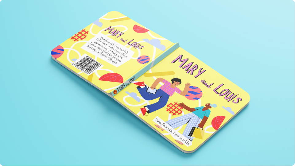Brightly colored cover of the book Mary and Louis: Two friends, two worlds.  Made with doodles from the collection Amigos