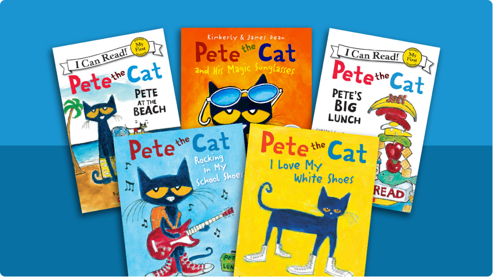 Variations of cover art from the children's book Pete the Cat by Kimberly and James Dean.