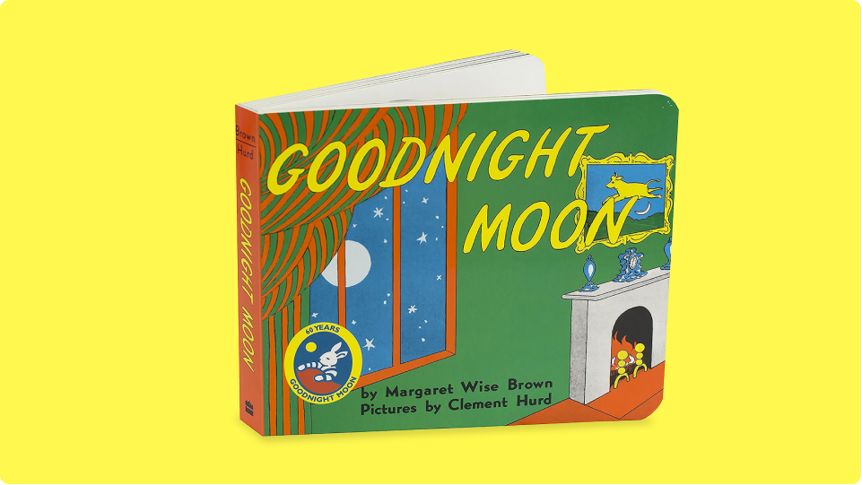 The cover art of the classic Goodnight Moon by Margaret Wise Brown illustrated by Clement Hurd.