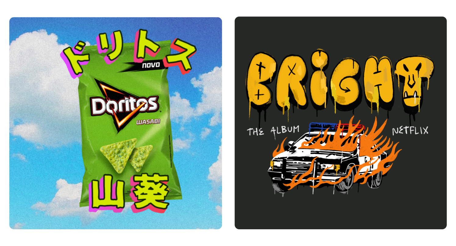 Images of Berje's collaboration with Doritos and Netflix