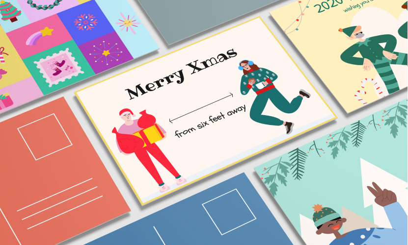 Examples of Christmas cards decorated with illustrations