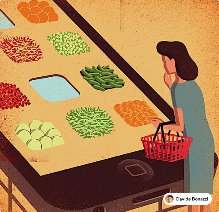 Editorial illustration of woman grocery shopping online
