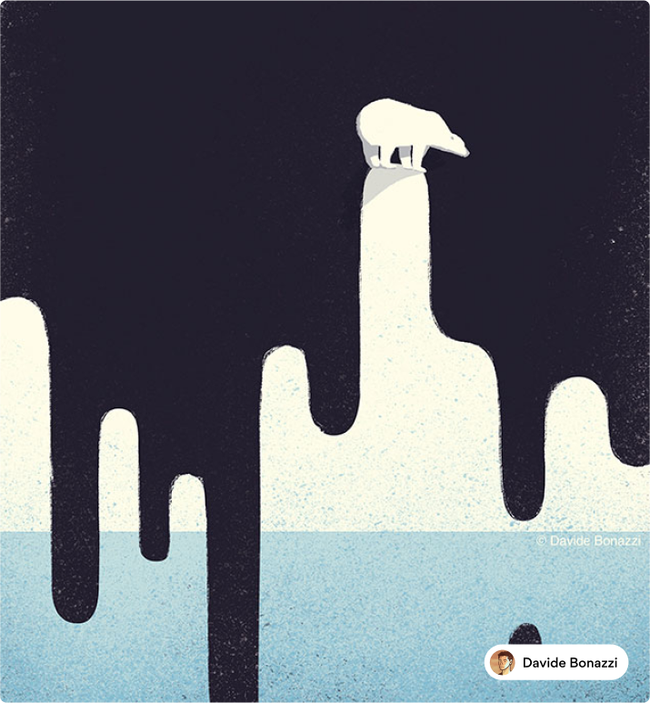 Editorial illustration touching on the topic of global warming