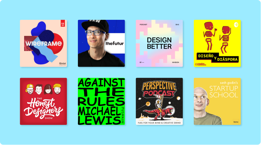Podcast cover art examples.