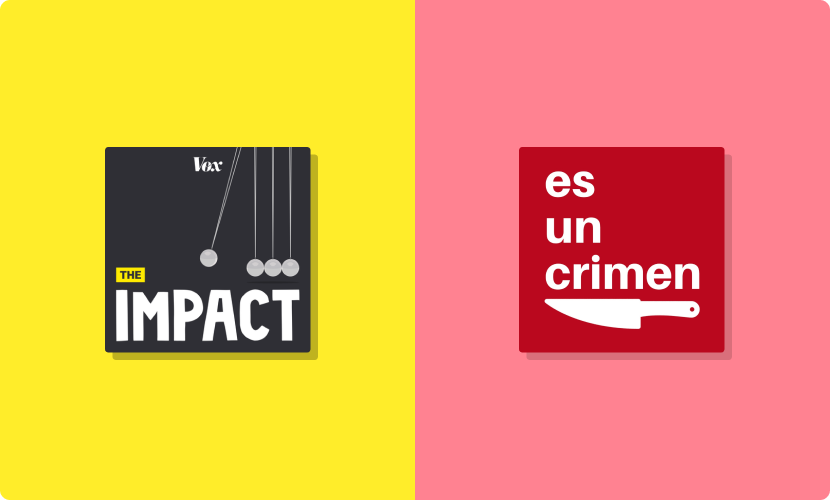 Vox podcast cover art for The Impact and covert art for es un crimen