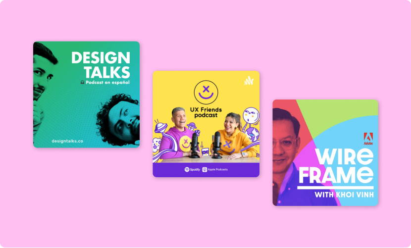 Podcast cover art for Design talks, UX friends podcast, Wire frame