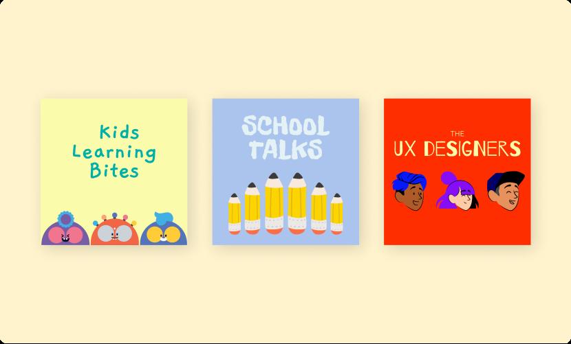 Podcast cover art for Kids Learning Bites, School Talks, The UX Designers.