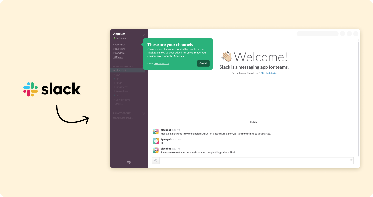Slack's onboarding screen with informative pop up message