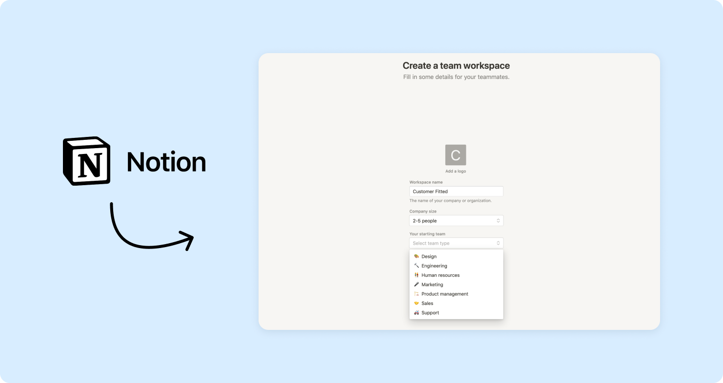Notion's onboarding screen with questions based on customer roles