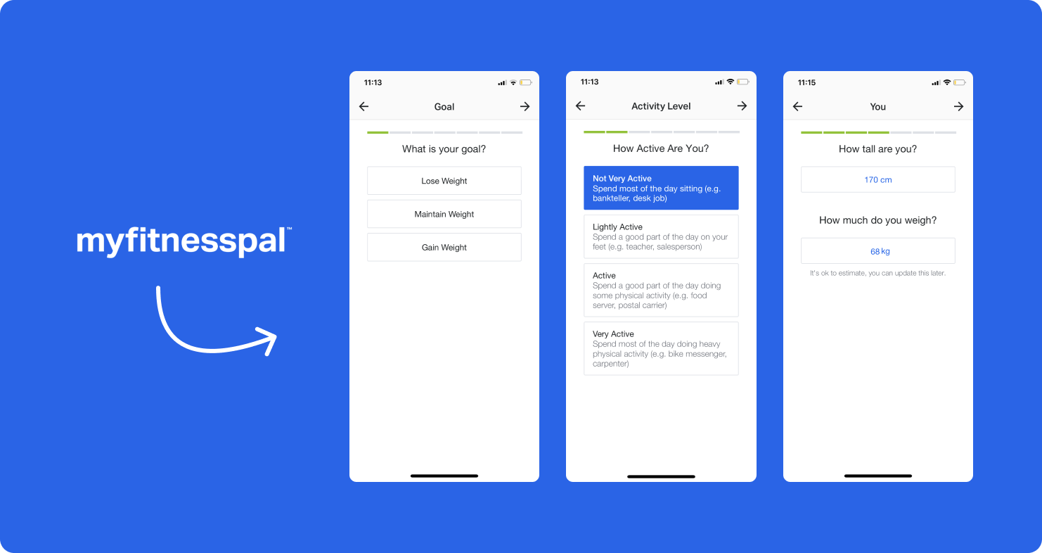 Three onboarding screens from fitness app