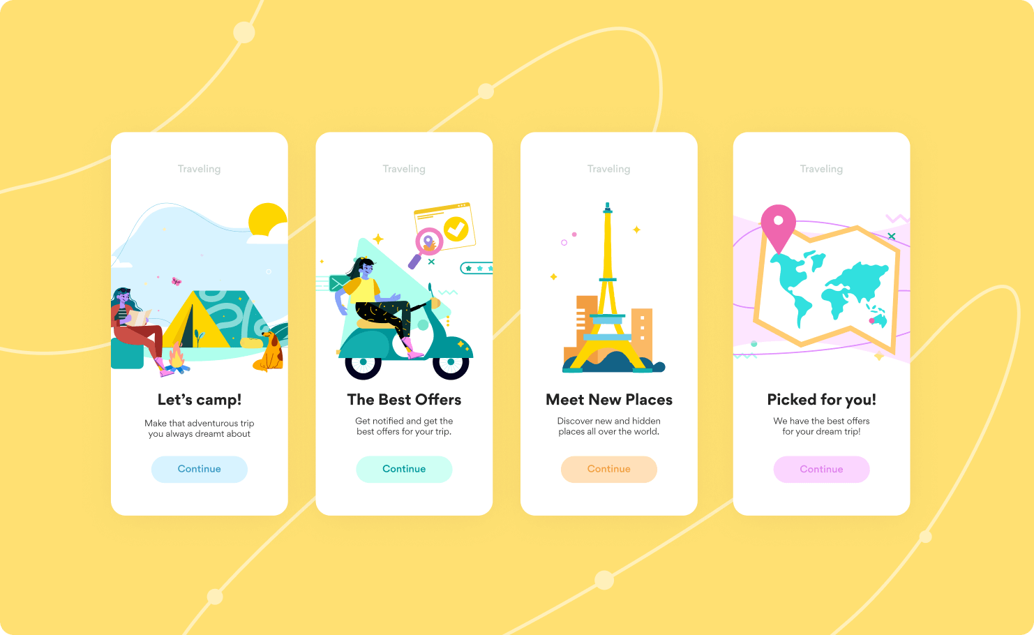Four onboarding screens featuring illustrations from the collection Nomads.