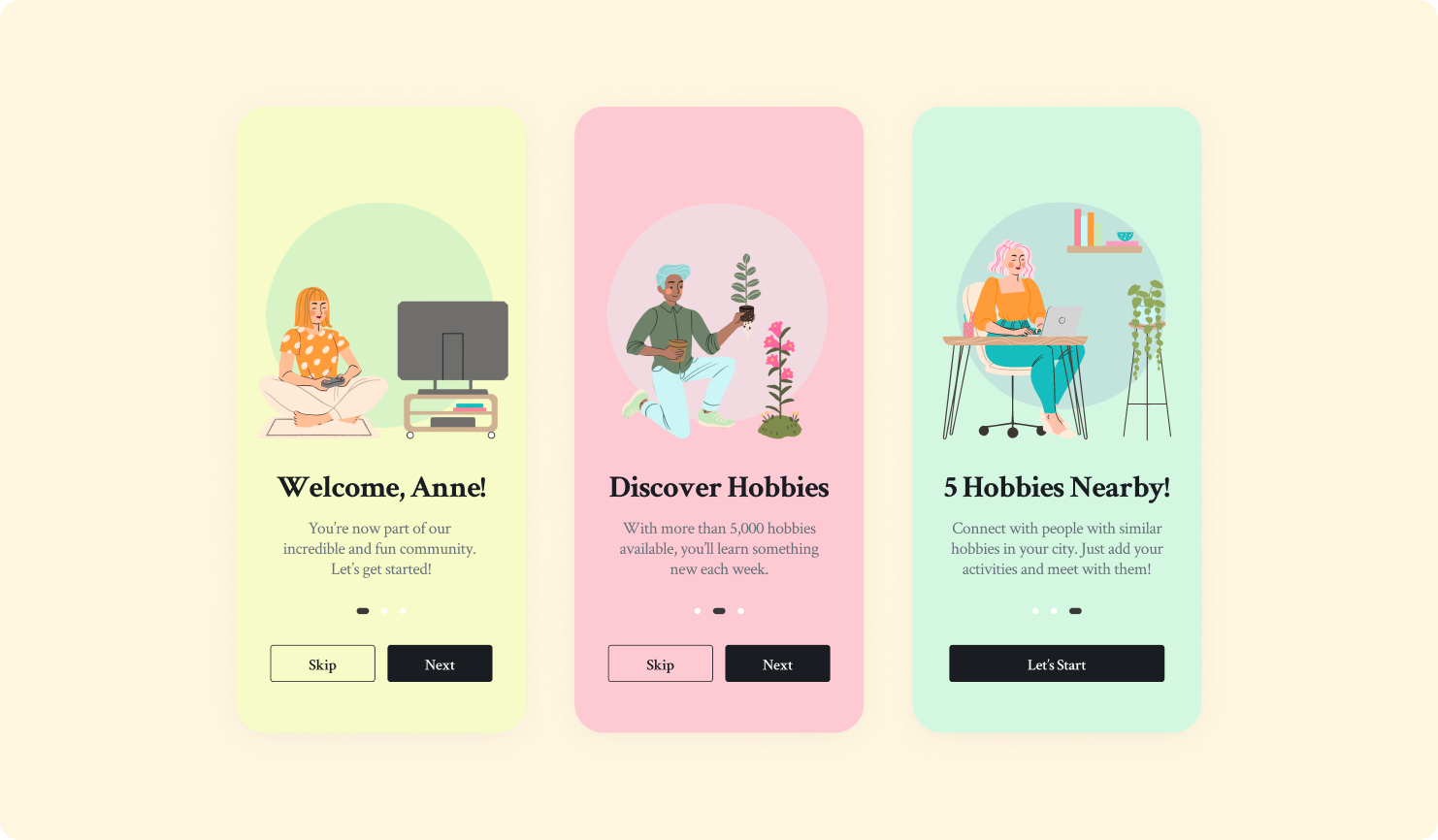 Three onboarding screens with illustrations and welcome message