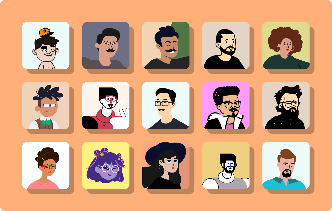 Image with avatar illustrations representing different people.