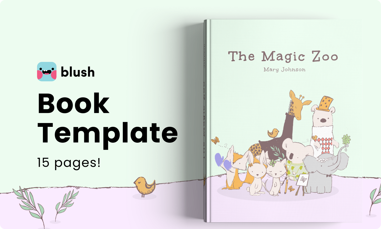 Cover image of the book template from Blush featuring illustrations