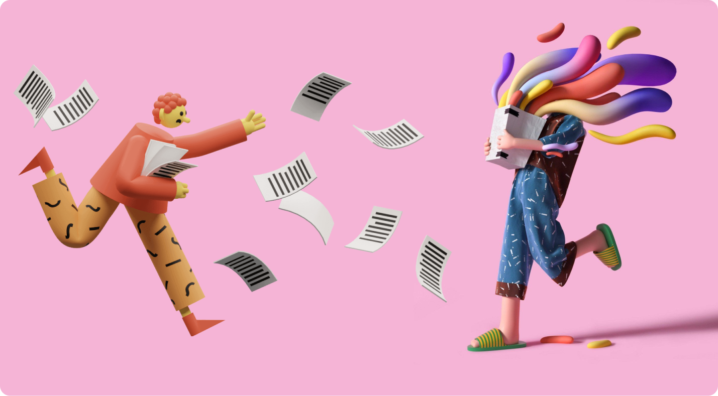 Image featuring two 3D illustrations walking.