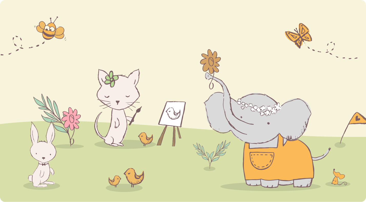 Children's illustrations with animals painting and playing around.