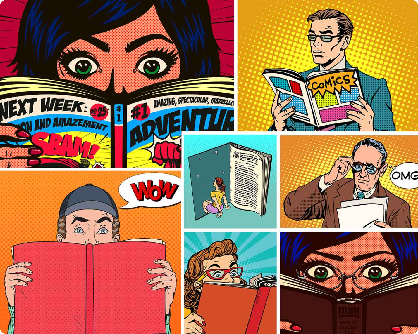 Image featuring illustrations of people reading comics