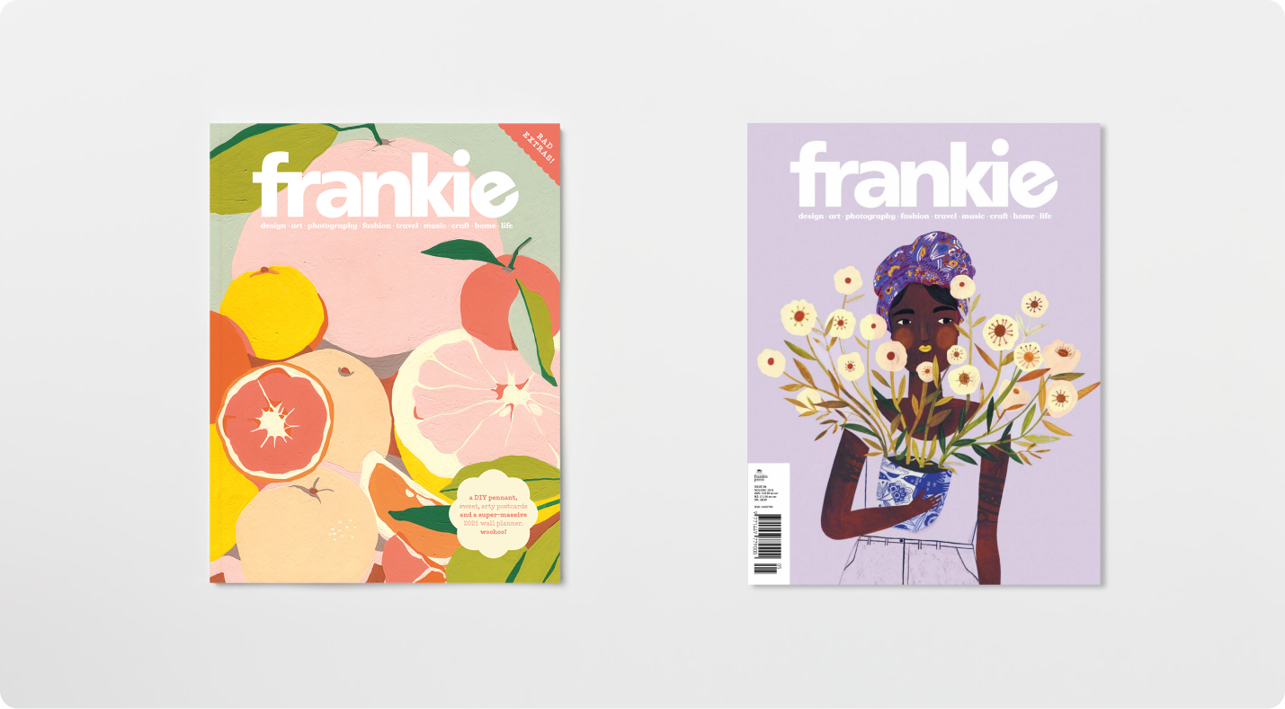 Image featuring two covers with illustrations from the frankie magazine