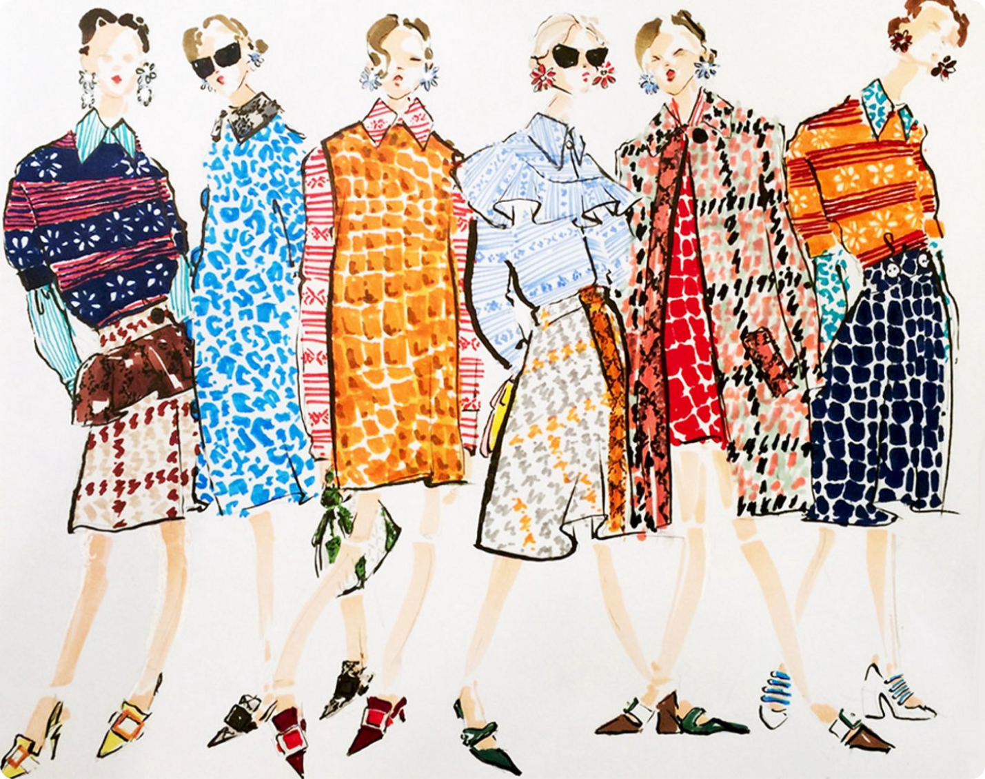 fashion illustrations of women in different outfits.