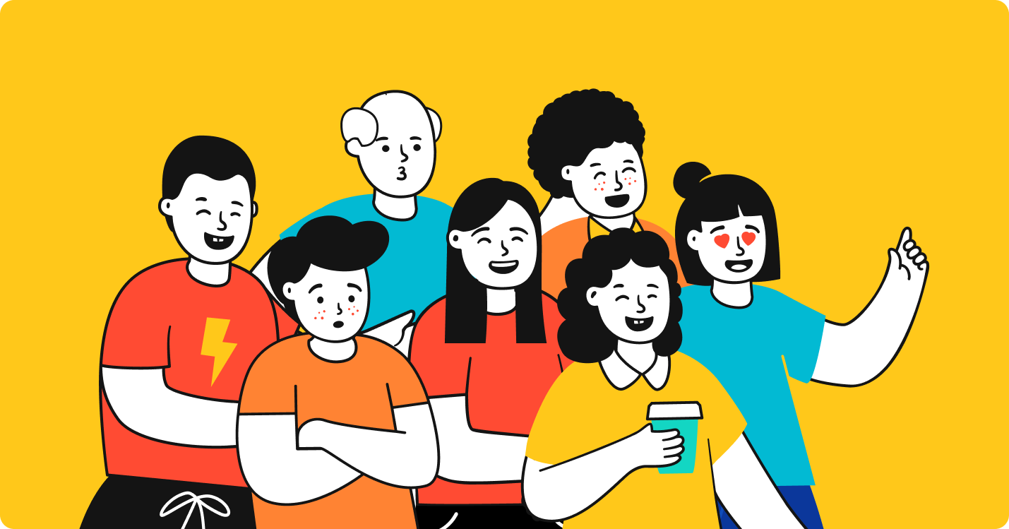 Image featuring illustrations from a group of people with colored T-shirts.