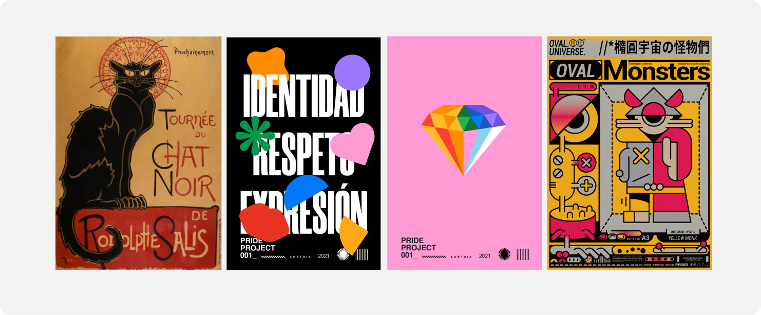 Poster illustrations with four examples.